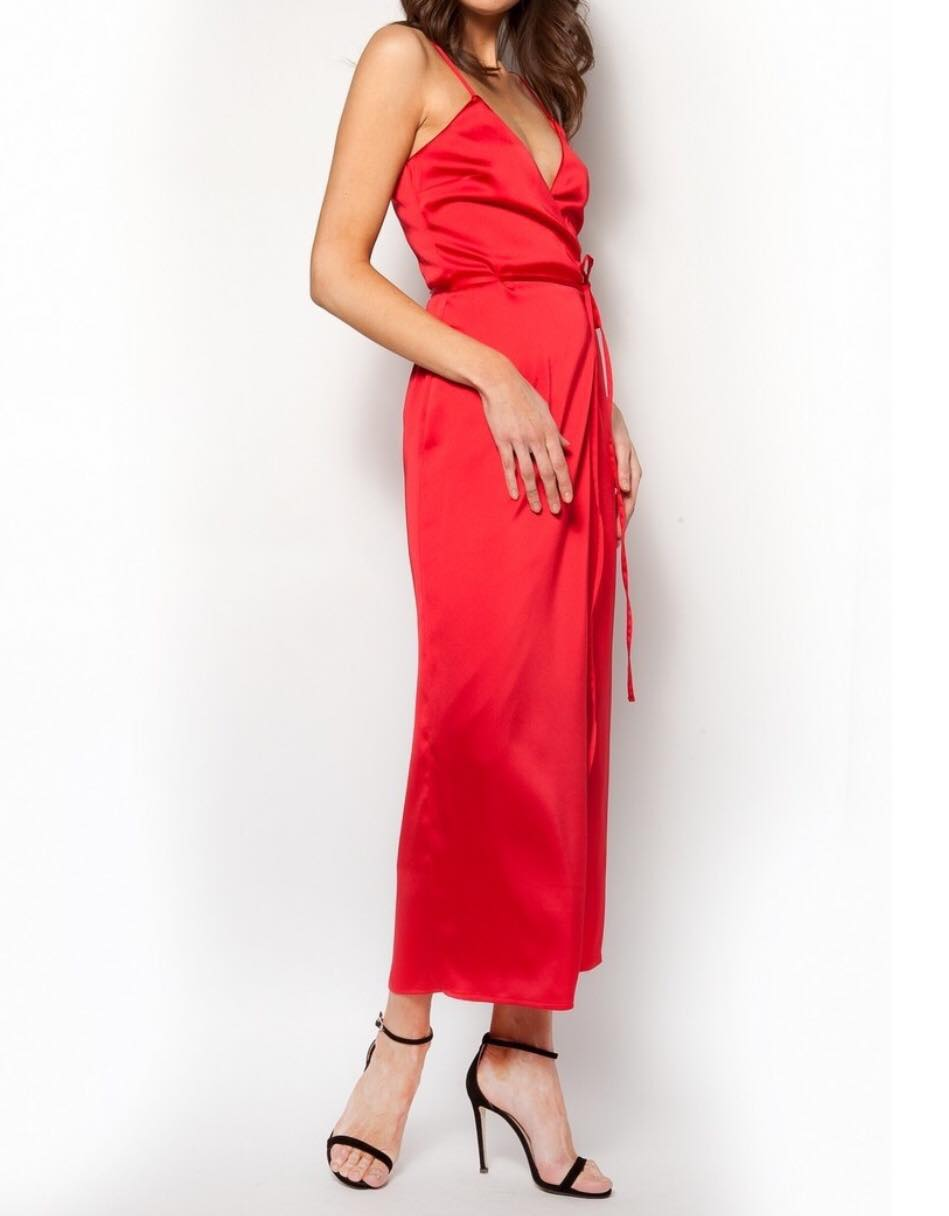 7beecd89a23 Σατέν φόρεμα κιμονό μακρύ κόκκινο