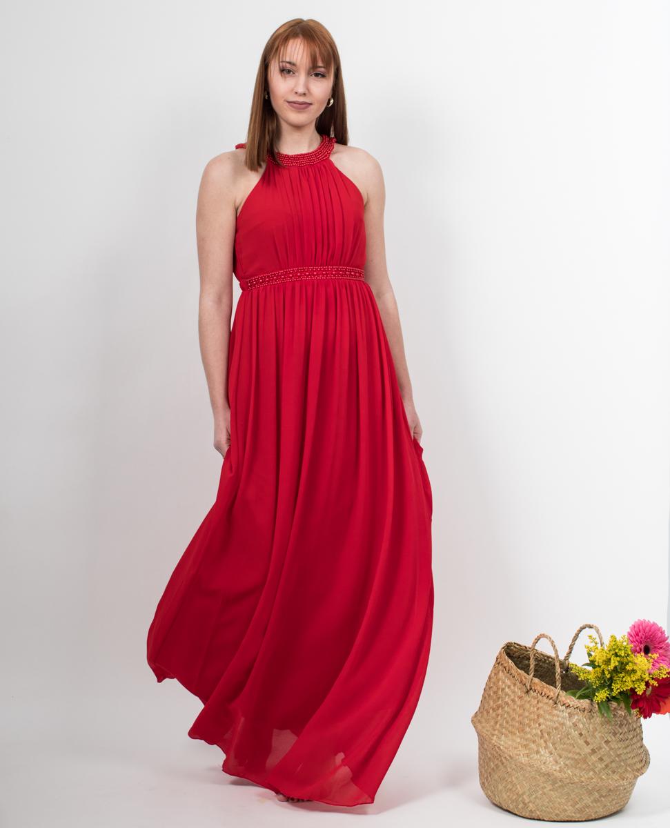 14b02345078 Φόρεμα κόκκινο μακρύ με έξω τους ώμους