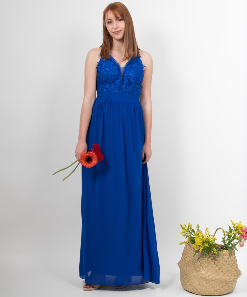 f42e7b21c738 Φόρεμα μακρύ μπλε με λεπτομέρεια από δαντέλα