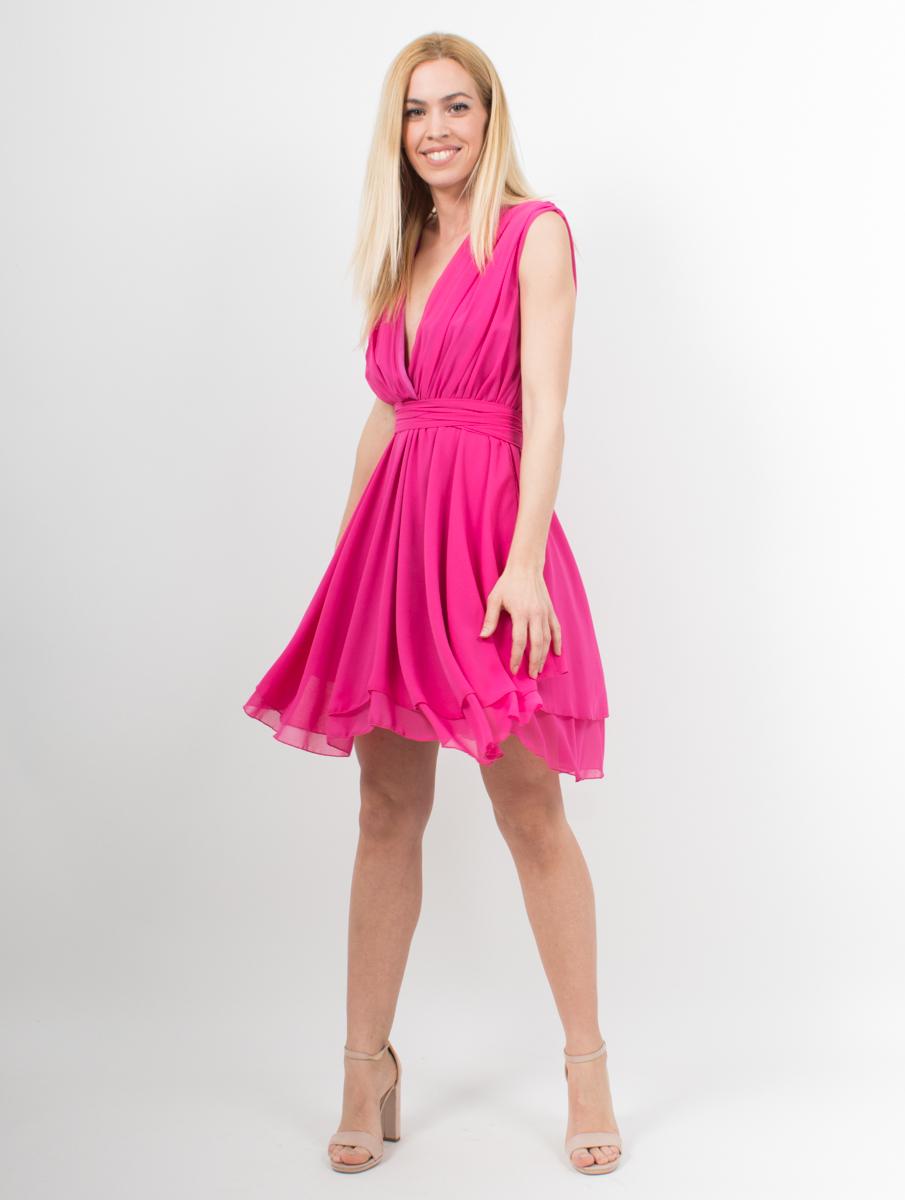 ed3f03b77aea Μίνι φόρεμα φούξια με δέσιμο