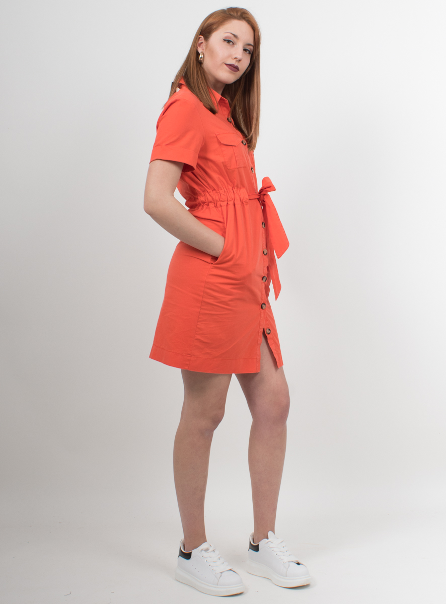 fe93c5329baf Φόρεμα σε στυλ πουκάμισο με κουμπιά πορτοκαλί