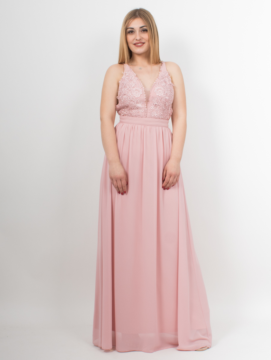 87a9ec137b8 Φόρεμα μακρύ nude με λεπτομέρεια από δαντέλα