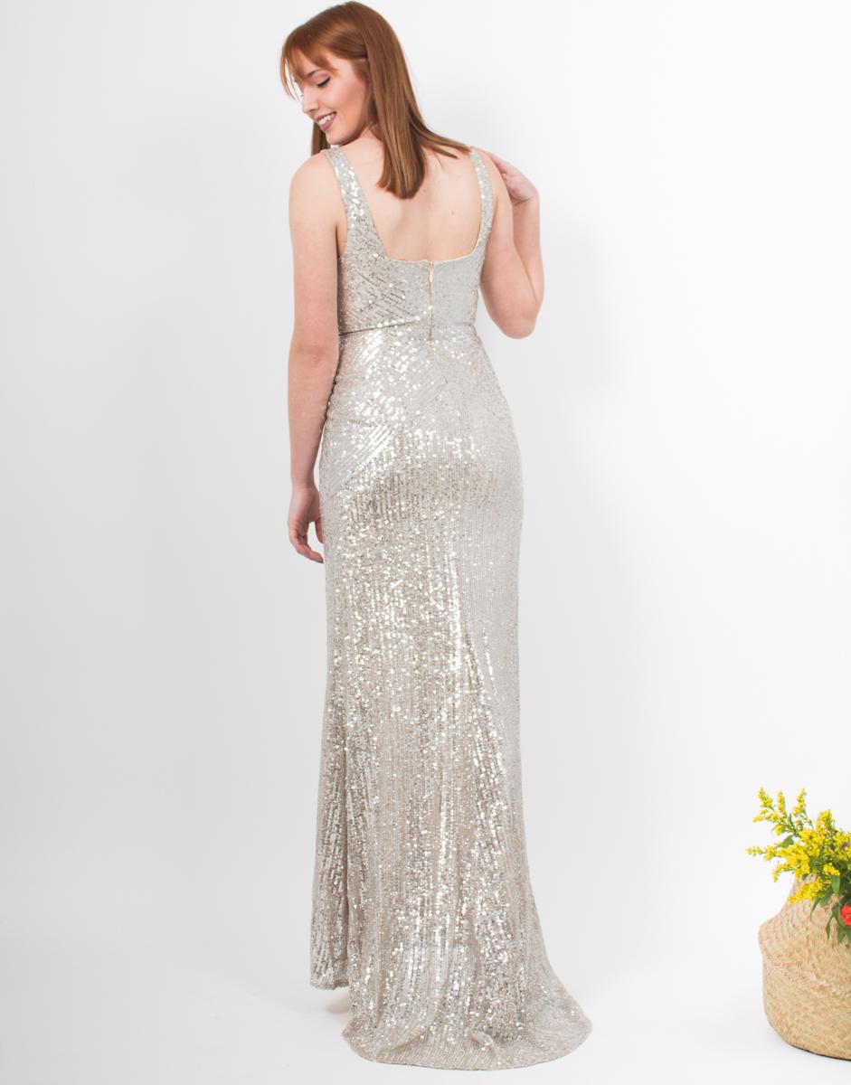a319192edc59 Φόρεμα μακρύ με παγιέτες ασημί