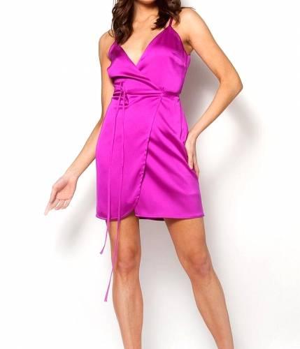 ce9a5166c4ff Σατέν μίνι φόρεμα κιμονό φούξια