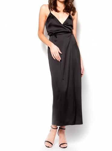 6f265eb2aba4 Σατέν φόρεμα κιμονό μακρύ μαύρο