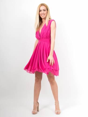 e40a39c6f45 Μίνι φόρεμα φούξια με δέσιμο