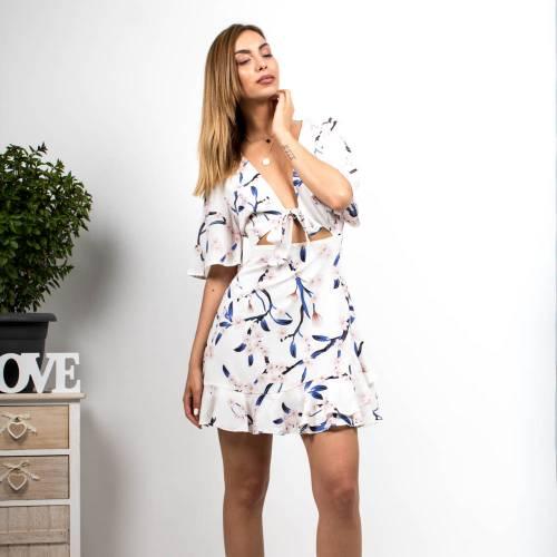 Φόρεμα floral με μανίκια λευκό c4d6ff37fcd
