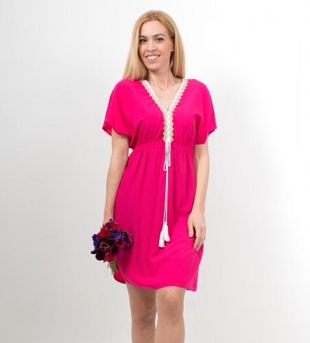 710c65c848e8 Φόρεμα μίνι σε έθνικ στυλ φούξια
