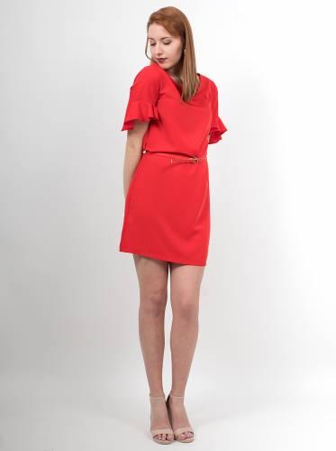 b82d858e27d4 Φόρεμα μίντι κόκκινο με ζώνη