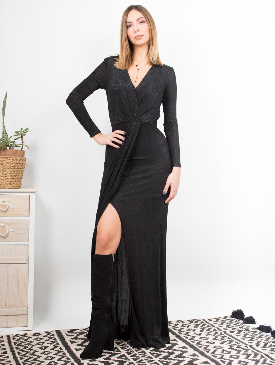 Maxi μαύρο φόρεμα με lurex 3baa22d641c