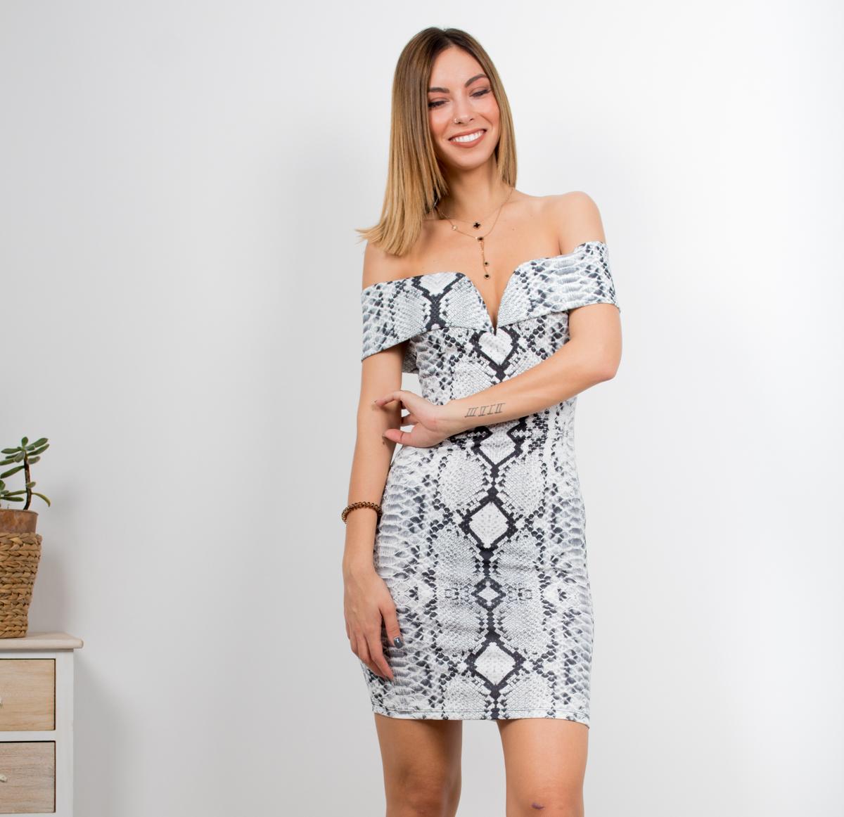 71ab743eb1b2 Φόρεμα στράπλες φίδι